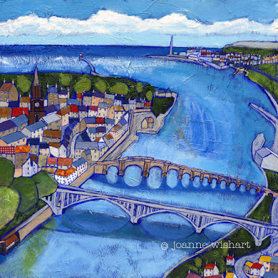Northumberland picture, northumberland painting, north east artist, northumberland artist, river tweed, colourful art, contemporary painting