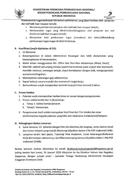 Lowongan Kerja Tenaga Pendukung Administrasi Keuangan Anggaran Kementerian PPN/Bappenas Tahun 2020