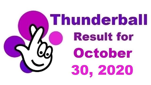 Thunderball Results for Friday, October 30, 2020