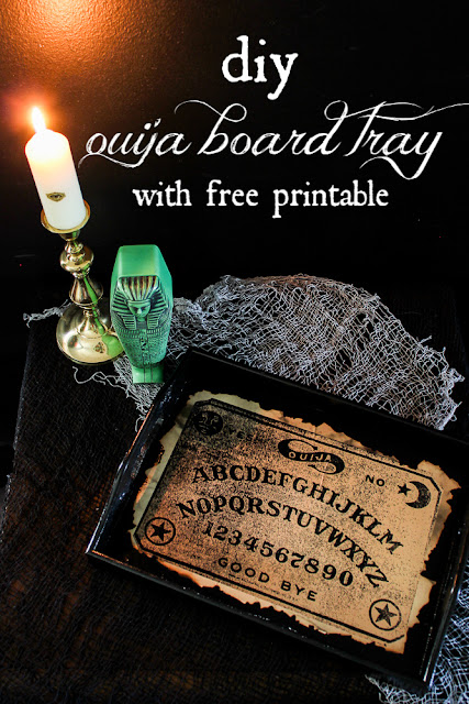 DIY Ouija Board Tray for Halloween.