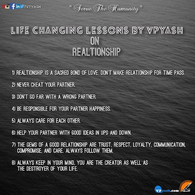 Life Changing Lessons by VPYASH on Realtionship