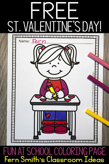 St. Valentine's Day Coloring Page Freebie from Fern Smith's Classroom Ideas!