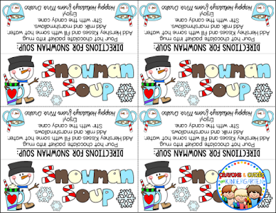 Transformative image within snowman soup printable tag