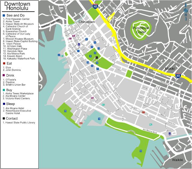 Mapa de Honolulu - Havaí
