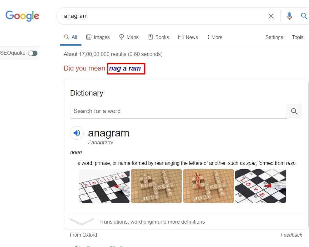 "<img src=""anagram.jpg"" alt=""anagram,nag a ram google trick"" title=""google trick anagram"">"