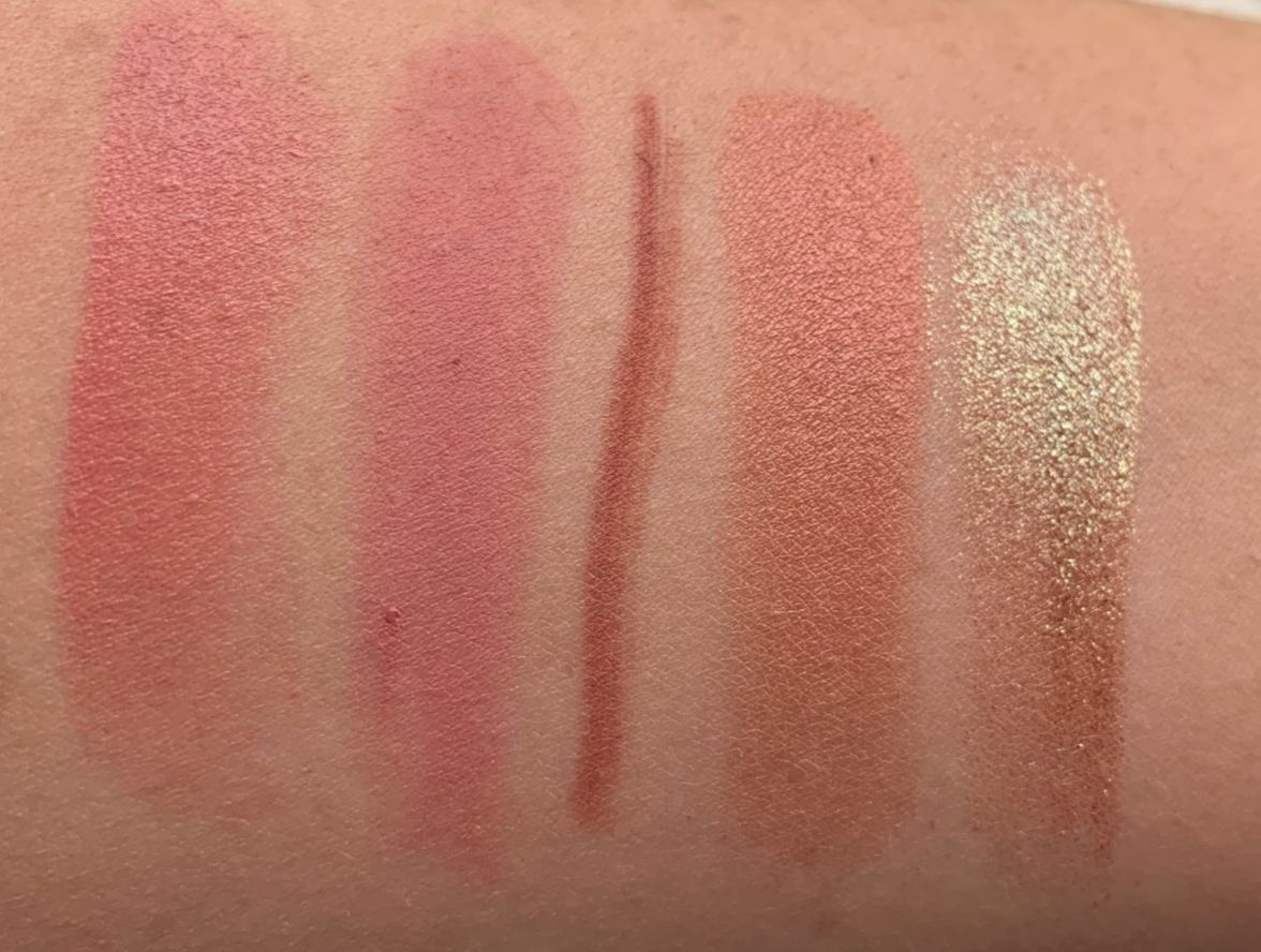 MAC x Nic Chapman Swatch, Powder Kiss Lipstick - Reverence Swatch, Spice Lip Pencil Swatch,  Extra Dimension Hushed Tone Blush Swatch,  I Like To Watch Dazzeshadow Swatch