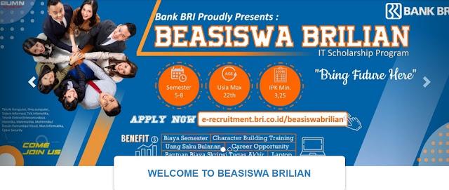 Lowongan Kerja Juni 2020 | Lowongan Kerja BRILiaN Scholarship Bank BRI Tahun 2020