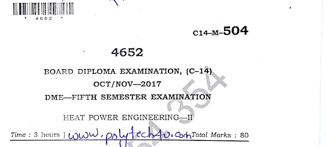 DIPLOMA HEAT POWER ENGINEERING-2 OLD QUESTION PAPER 2017