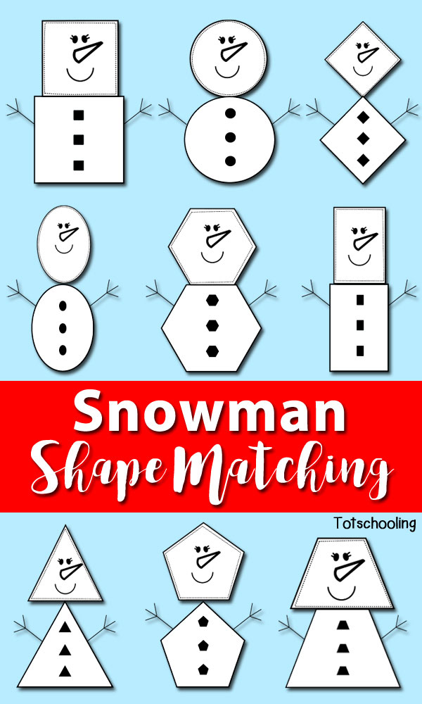 Snowman Shape Matching | Totschooling - Toddler, Preschool ...