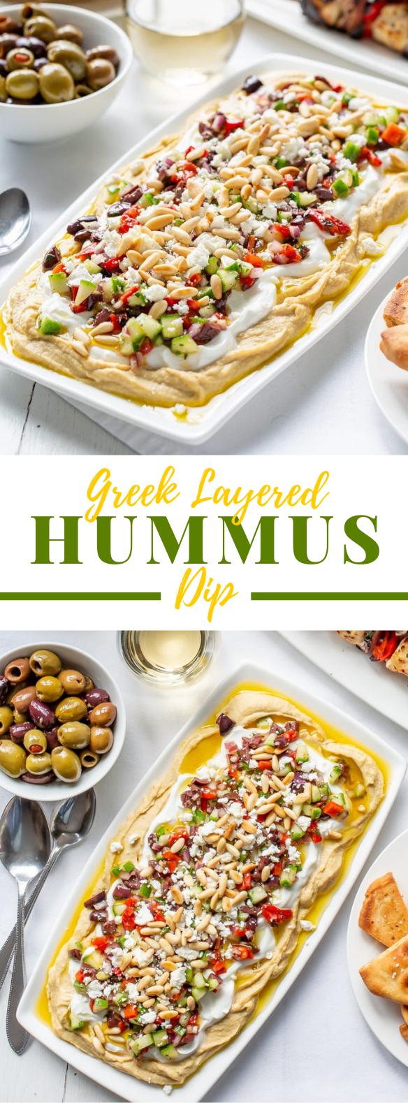Greek Layered Hummus Dip Recipe #vegetarian #appetizers