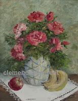 Fleurs, fruits et dentelle, huile 10 x 8 - roses en vase par Clémence St-Laurent