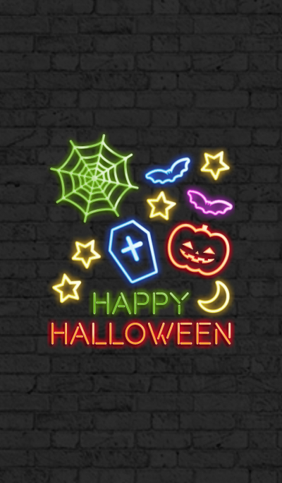 happy halloween-neon-colorful