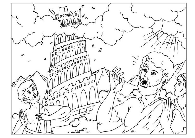 La Torre de Babel Para Colorear