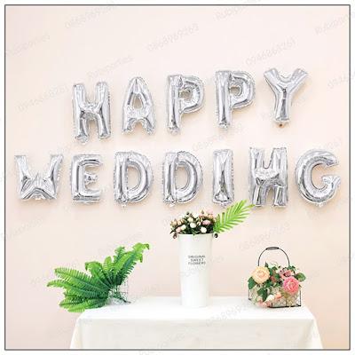 bong chu happy wedding mau bac