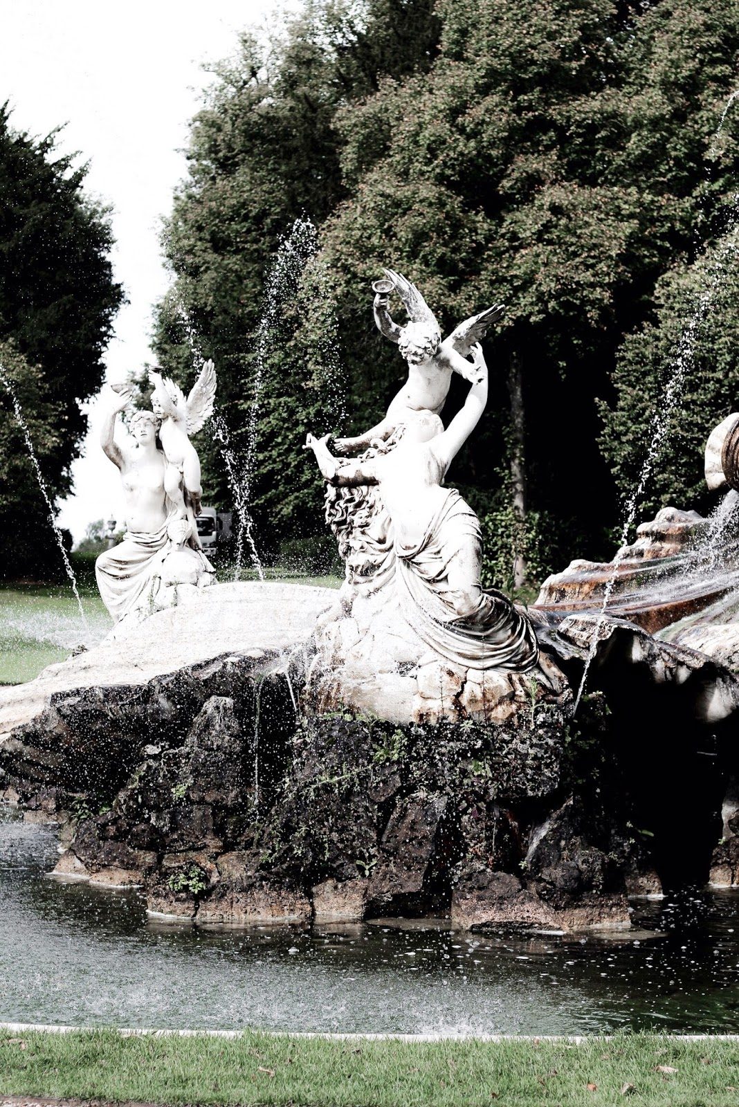 Entrance White Fountain at Cliveden House UK