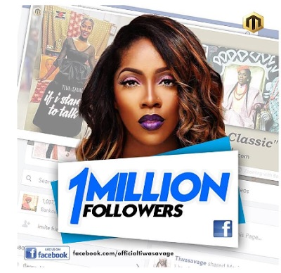 See What Tiwa Savage Did After Her 1 Million Followers On Facebook (See Photos)