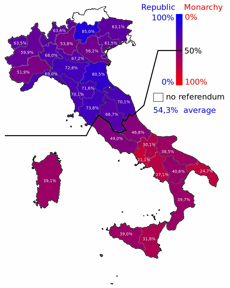 Results of the referendum that 70 years ago today made Italy a republic