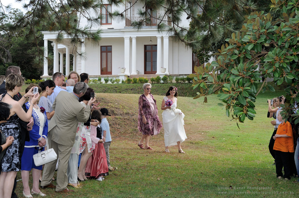 Here comes the bride! Garden Wedding in Vaucluse, photographed by Kent Johnson at Unique Event Photography Sydney.