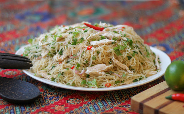 Food Lust People Love: This Thai-style Turkey Glass Noodle Salad recipe will bring fresh zip to your leftover Thanksgiving or Christmas turkey by adding glass noodles, lime juice, chili peppers and fish sauce, turning it into an Asian specialty