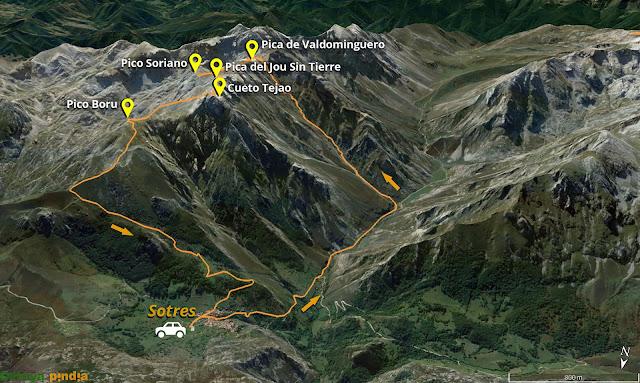 Mapa de la ruta señalizada al Pico Valdominguero, Soriano, Jou Sin Tierre, Cueto Tejao y Boru en el Macizo Oriental de Picos de Europa.