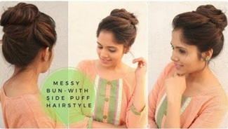Easy Messy Bun with Side Puff Hairstyle| Stylish Bun Hairstyle for school