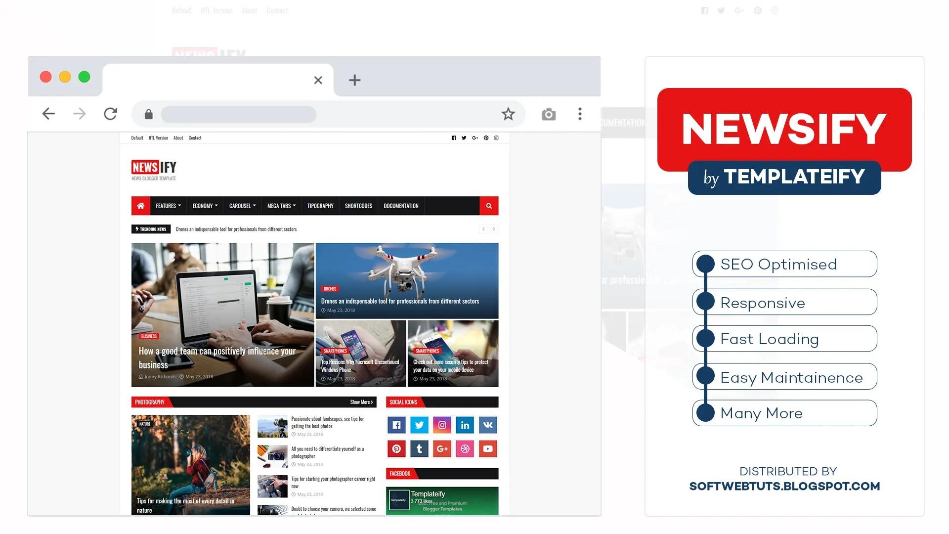 Newsify - Responsive Magazine Blogger Template