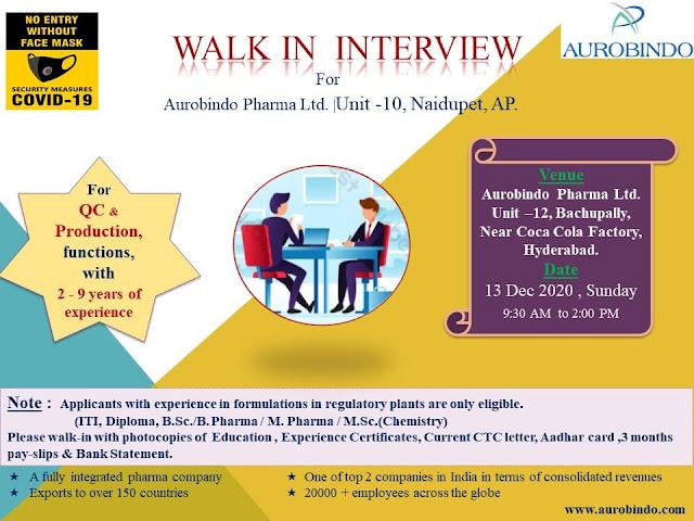 Aurobindo Pharma Ltd WalkIn Interviews for QC Production Departments on 13th Dec 2020
