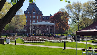 Dean College set up for the graduation along Awpie Way