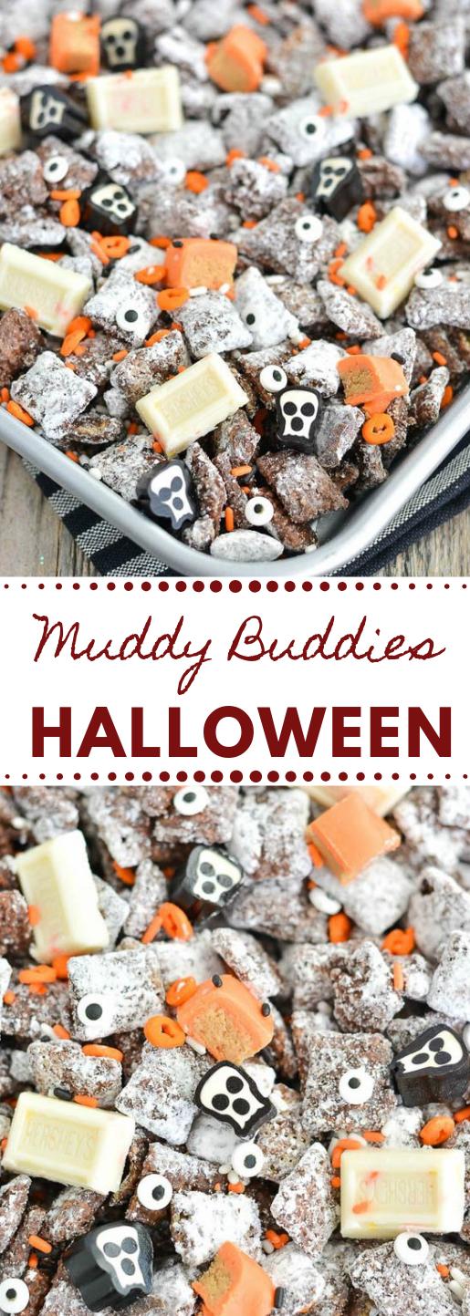 Halloween Muddy Buddies #healthy #desserts #cakes #snack #pumpkin