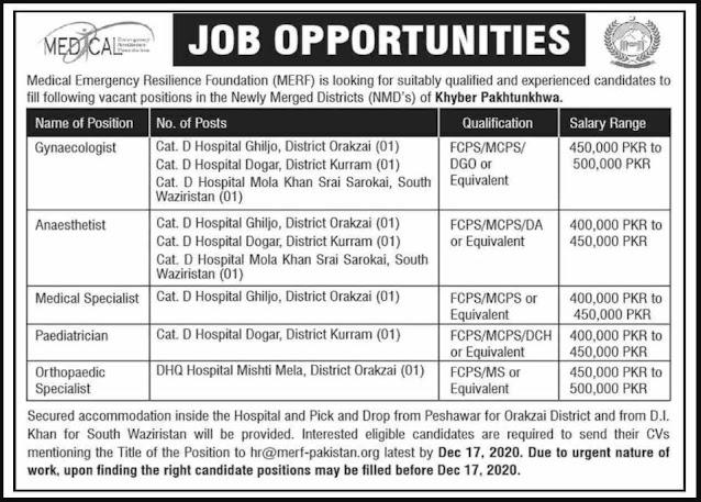 MERF Medical Emergency Resilience Foundation Rescue 1122 Khyber Pakhtunkhwa Jobs 2020
