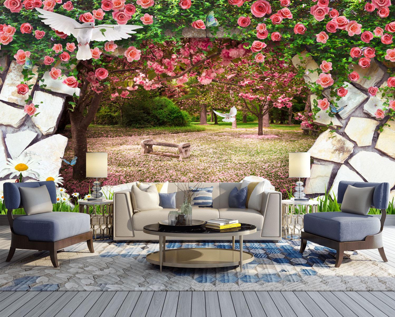 Tranh 3D Dán Tường Vườn Hoa