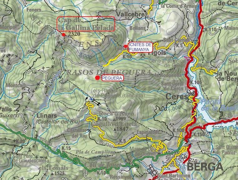 Mapa de l'Alt Berguedà Serra d'Ensija Peguera