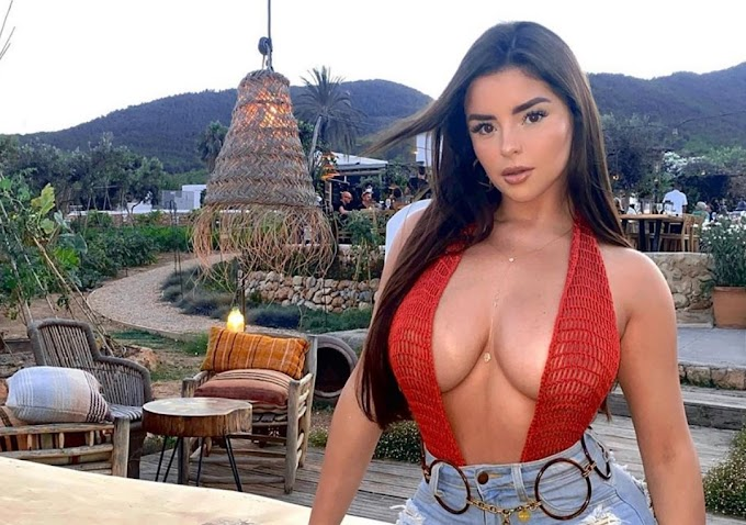 Demi Rose leaves travelers in Ibiza without text with shapely backs