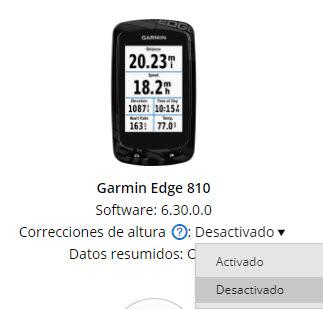 Correcciones de altura en Garmin Connect