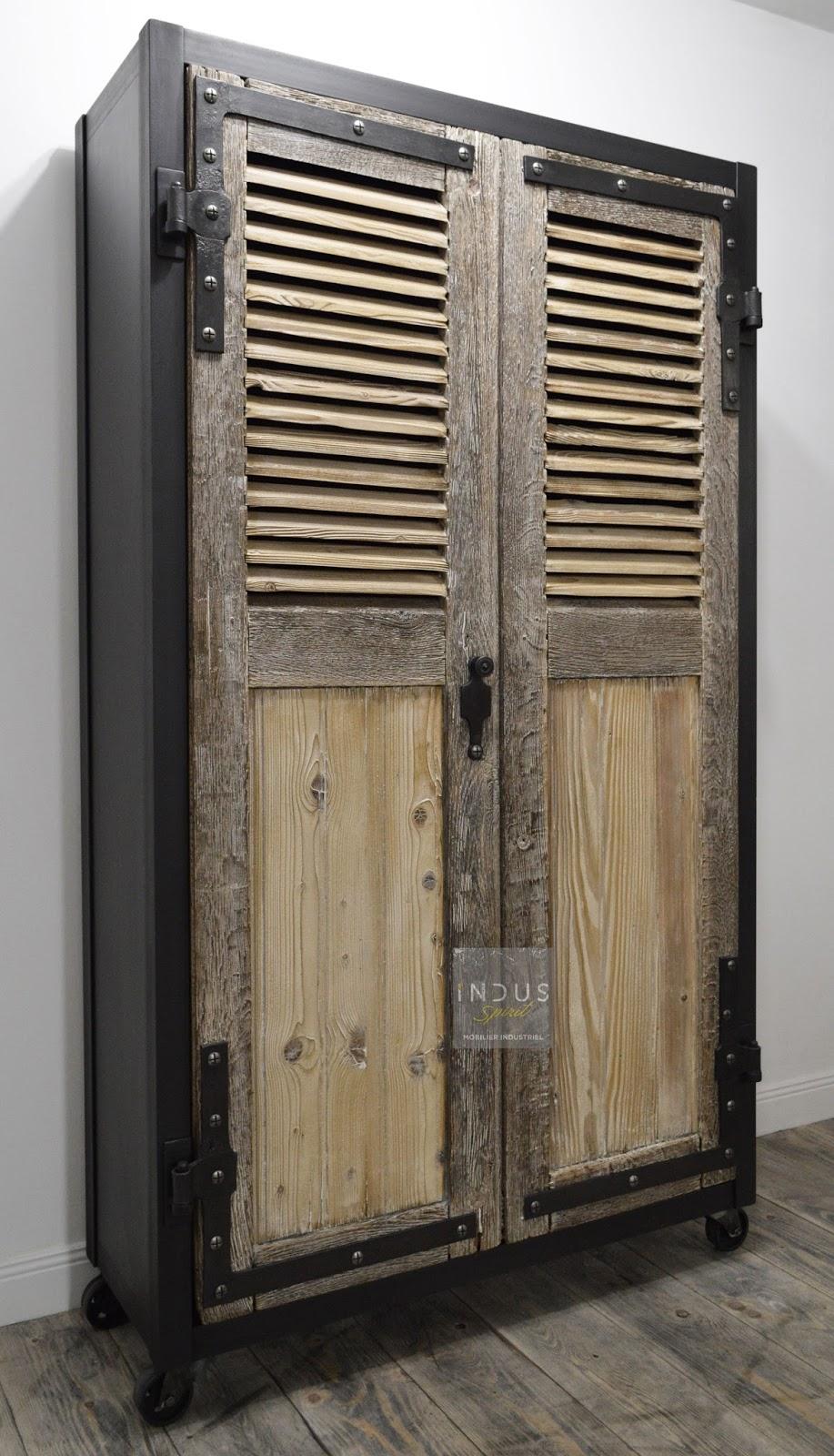 armoire bois et m tal. Black Bedroom Furniture Sets. Home Design Ideas