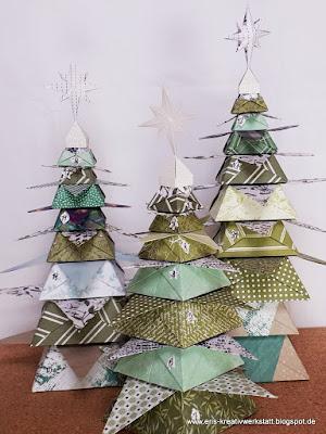 """Adventskalender """"Drei Tannen"""" aus Origami-Stern-Dosen Stampin' Up! www.eris-kreativwerkstatt.blogspot.de"""
