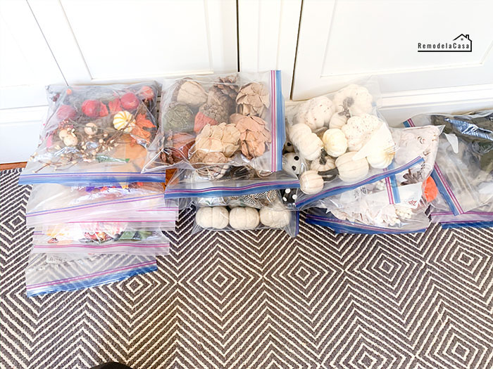 Using Ziplock bags to store seasonal decor
