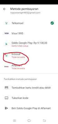 Cara Mengatasi pembayaran dengan Indosat tidak tersedia di play store