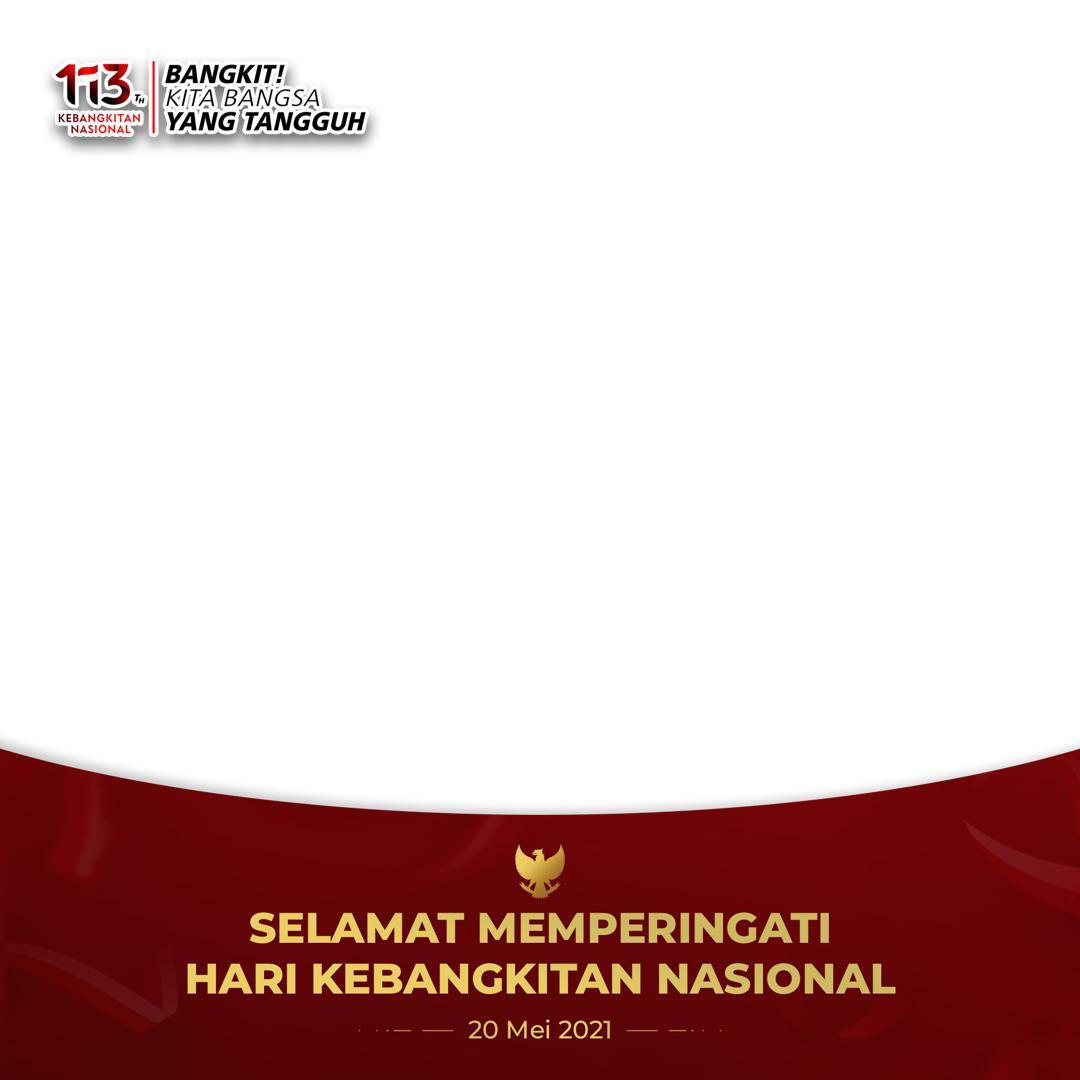 Bingkai Gratis Twibbon Selamat Memperingati Hari Kebangkitan Nasional 2021 background merah