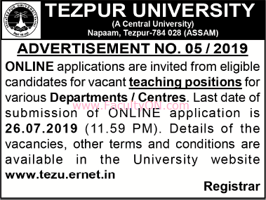 Tezpur University Assam Teaching Faculty Job Vacancy 2019