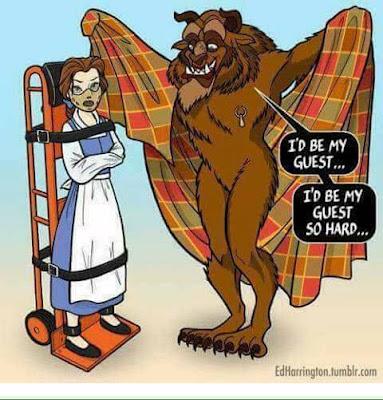 Meme de humor sobre La bella y la bestia