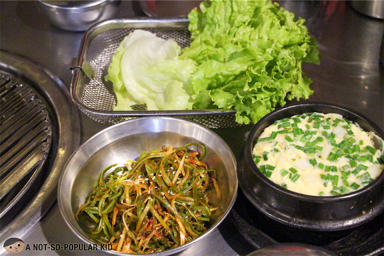 Side dishes in Samgyupsalamat in Alabang Town Center