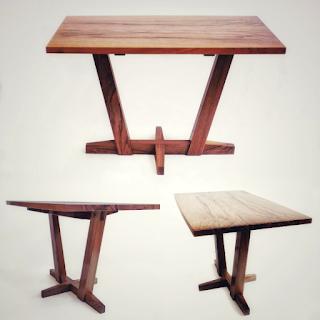 Triptych of walnut coffee tables