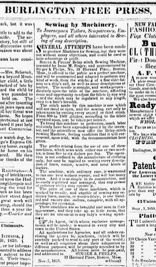 Singer sewing machines, first newspaper advertisement 1850