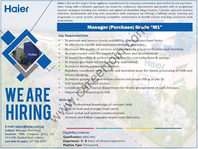 Haier Pakistan Jobs Manager (Purchase) Grade