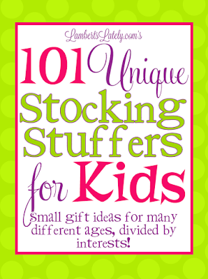 Love this fun list of stocking stuffers for kids!  There are ideas for everyone from toddler to tween, and plenty of ideas for both boys and girls. Lots of cheap small gift ideas too...and bonus, there's no candy!