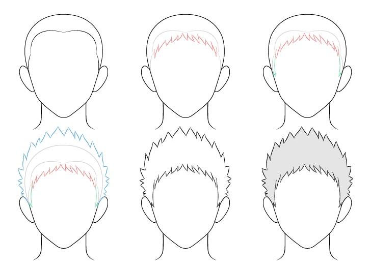 Gambar rambut pria runcing anime selangkah demi selangkah