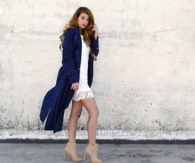 blue long coat outfit