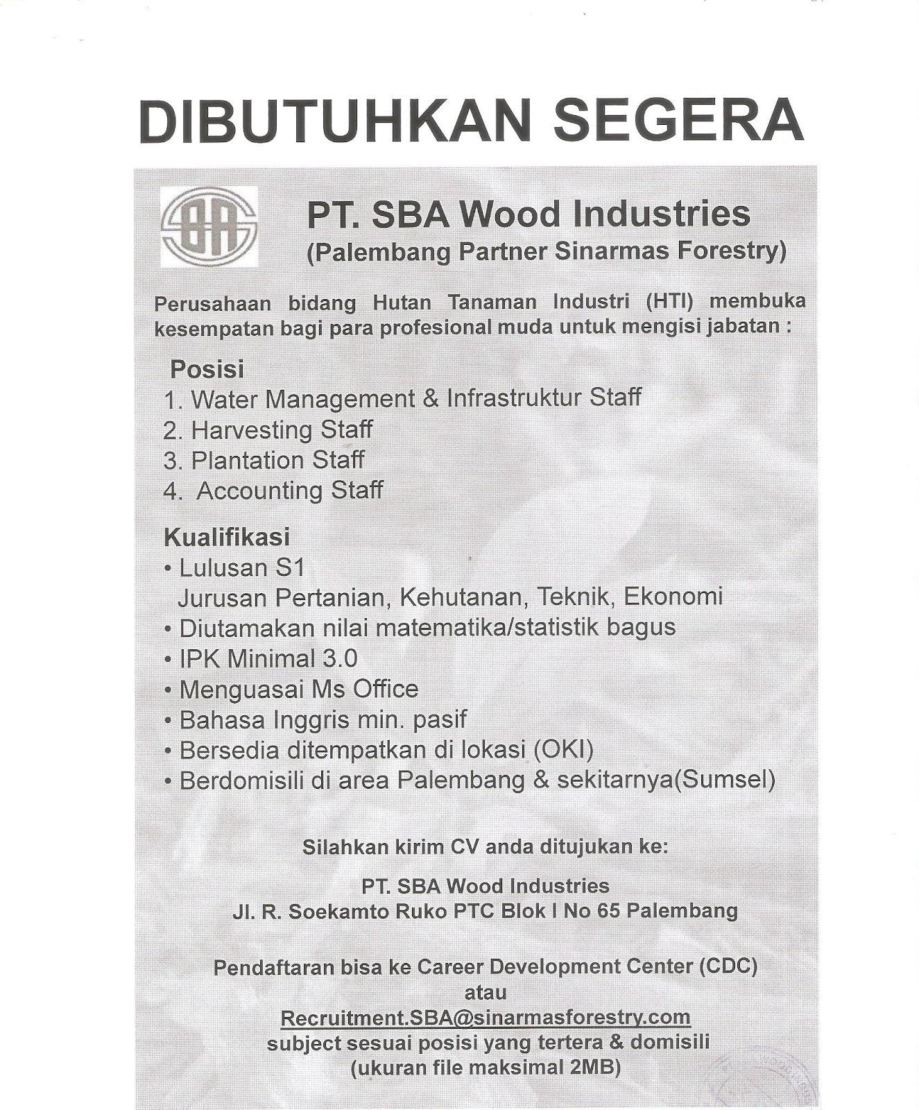 Lowongan Kerja Pt Sba Wood Industries Palembang 2017 Lowongan Kerja Terbaru Lulusan Sma D3 Dan S1 Semua Jurusan 2021