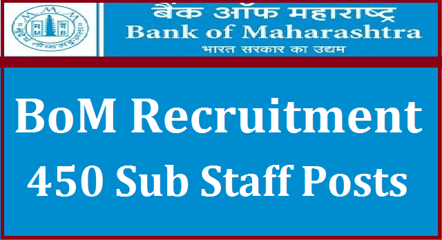 latest jobs, AP Recruitment, TS Recruitment, AP Jobs, TS Jobs, Bank jobs, Bank of Maharashtra, Sub Staff Posts